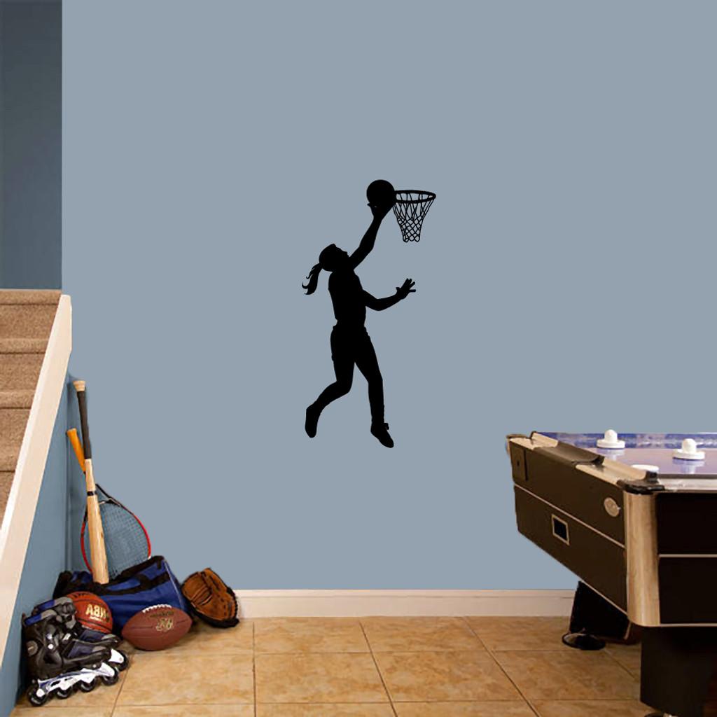 "Basketball Girl Layup Wall Decals 18"" wide x 36"" tall Sample Image"