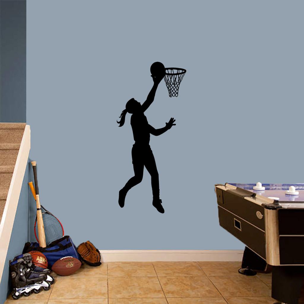 "Basketball Girl Layup Wall Decals 22"" wide x 48"" tall Sample Image"