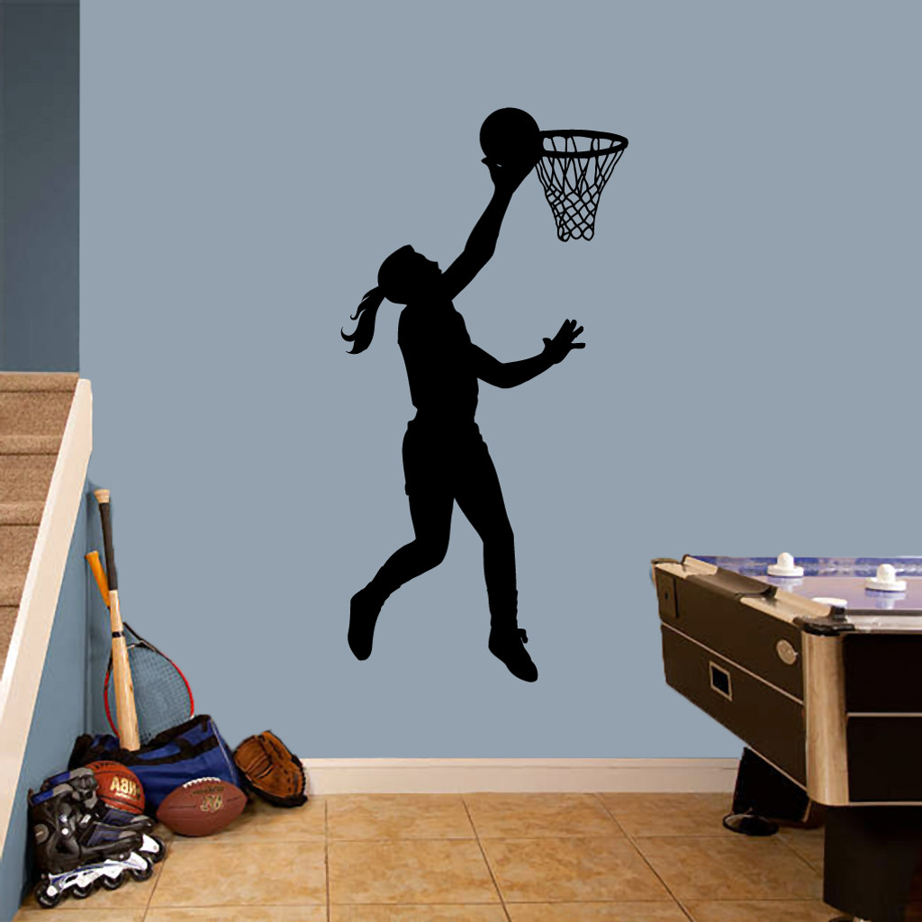 "Basketball Girl Layup Wall Decals 30"" wide x 60"" tall Sample Image"