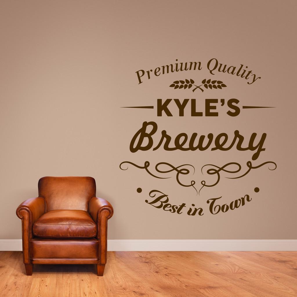 "Custom Brewery Bar Wall Decal 48"" wide x 48"" tall Sample Image"