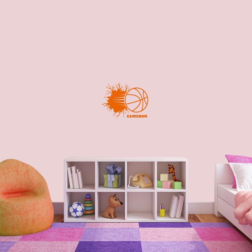 "Custom Basketball Breaking Wall Wall Decal 18"" wide x 14"" tall Sample Image"