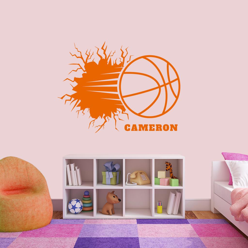 "Custom Basketball Breaking Wall Wall Decal 48"" wide x36"" tall Sample Image"