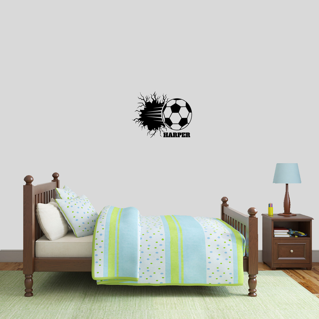 "Custom Soccer Ball Breaking Through Wall Wall Decal 18"" wide x 14"" tall Sample Image"