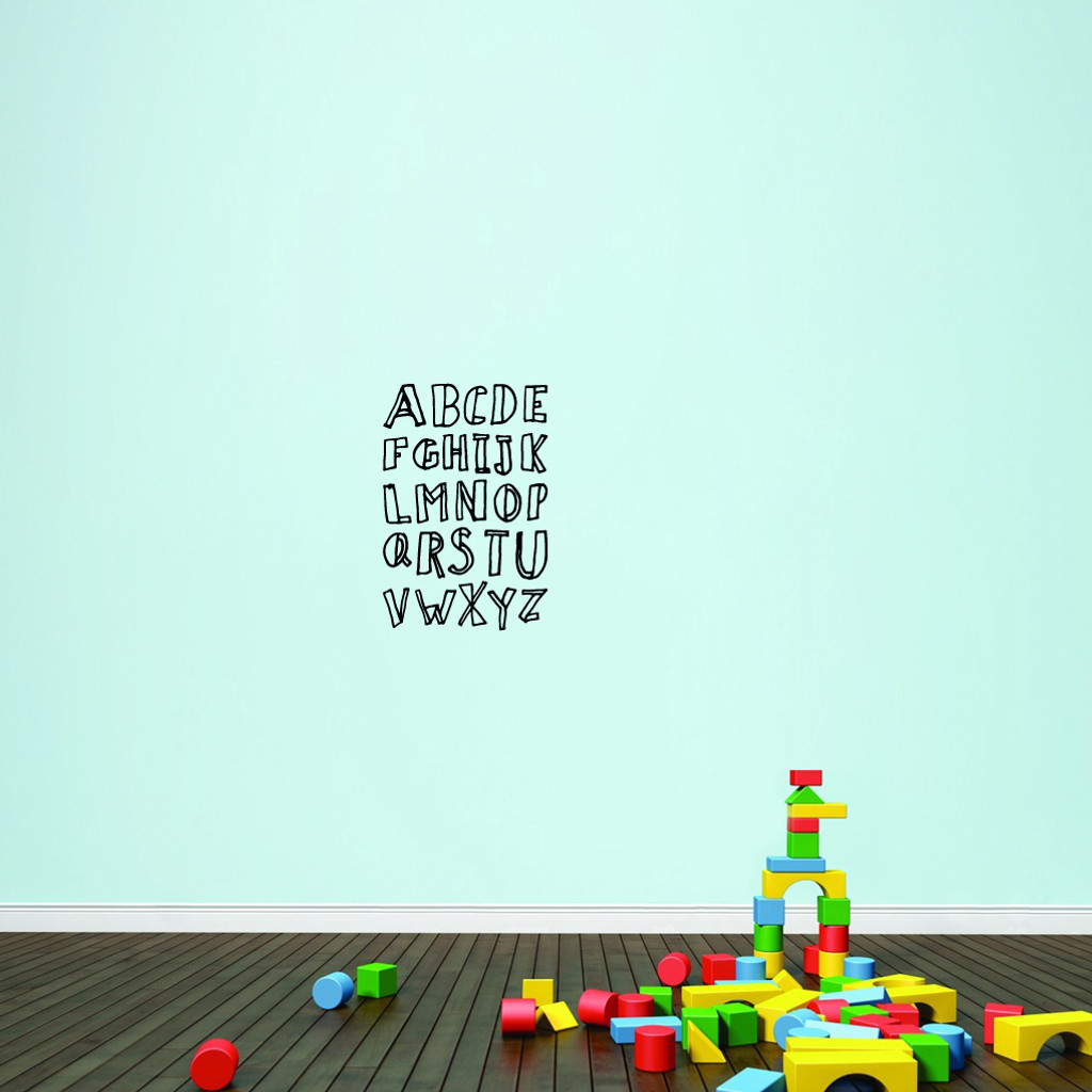 """Alphabet Doodle Wall Decals 16"""" wide x 24"""" tall Sample Image"""