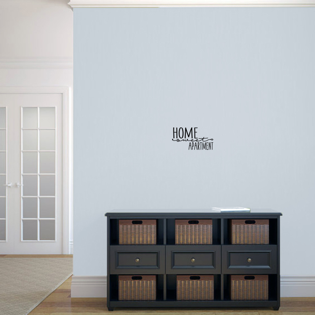 """Home Sweet Apartment Wall Decal 12"""" wide x 6.5"""" tall Sample Image"""