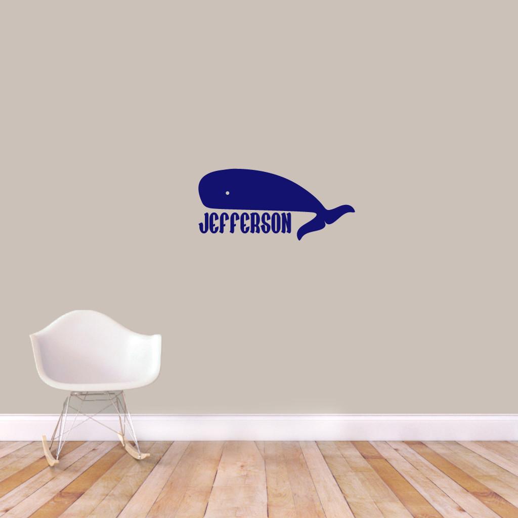 "Custom Whale Name Wall Decal 24"" wide x 11"" tall Sample Image"