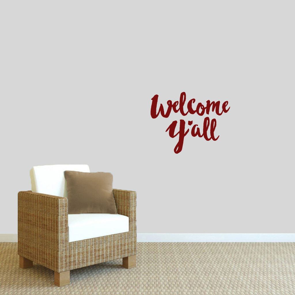 """Welcome Y'all Ohio Wall Decal 18"""" wide x 14"""" tall Sample Image"""