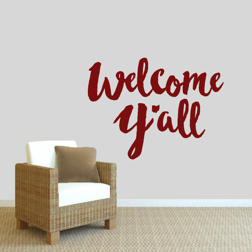"""Welcome Y'all Ohio Wall Decal 36"""" wide x 27"""" tall Sample Image"""