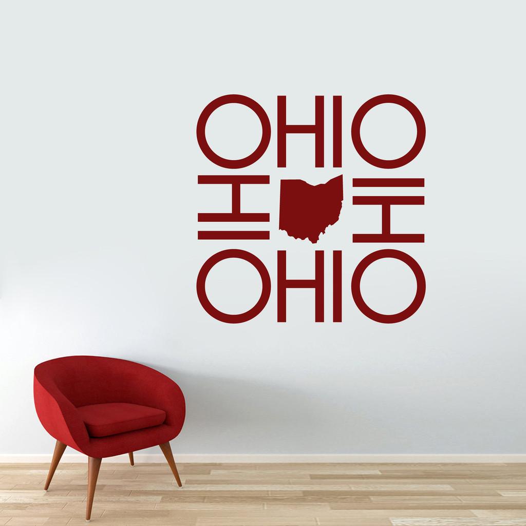 """OHIO OHIO OHIO OHIO Wall Decal 36"""" wide x 36"""" tall Sample Image"""