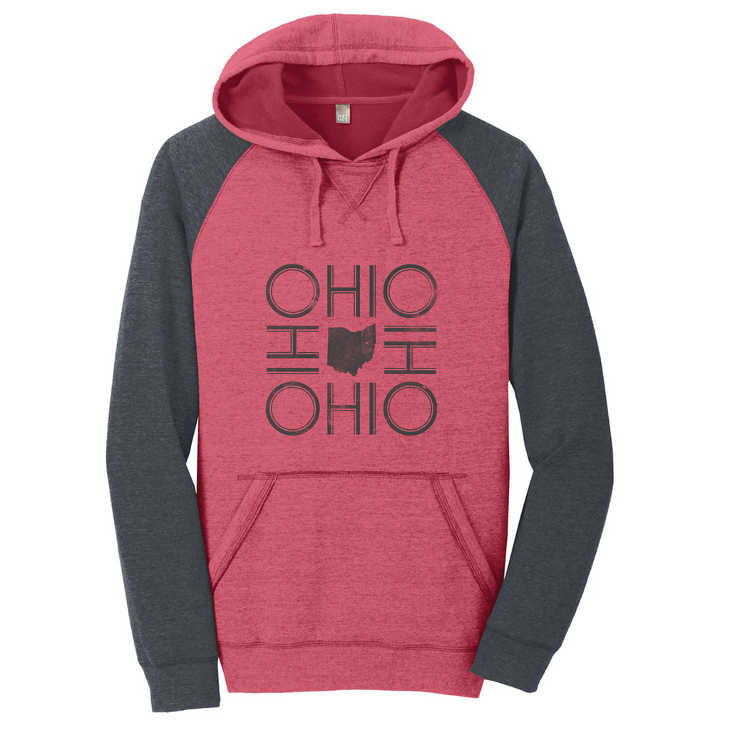 Heathered Red/Heathered Charcoal Ohio Fleece Raglan Hoodie