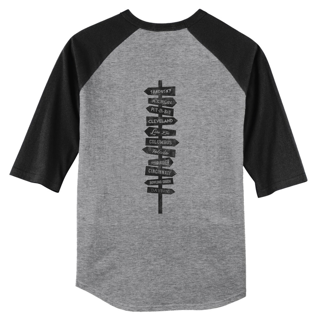 Heather Grey/Black Ohio Hot Spots 3/4 Length Sleeve Raglan T-Shirt