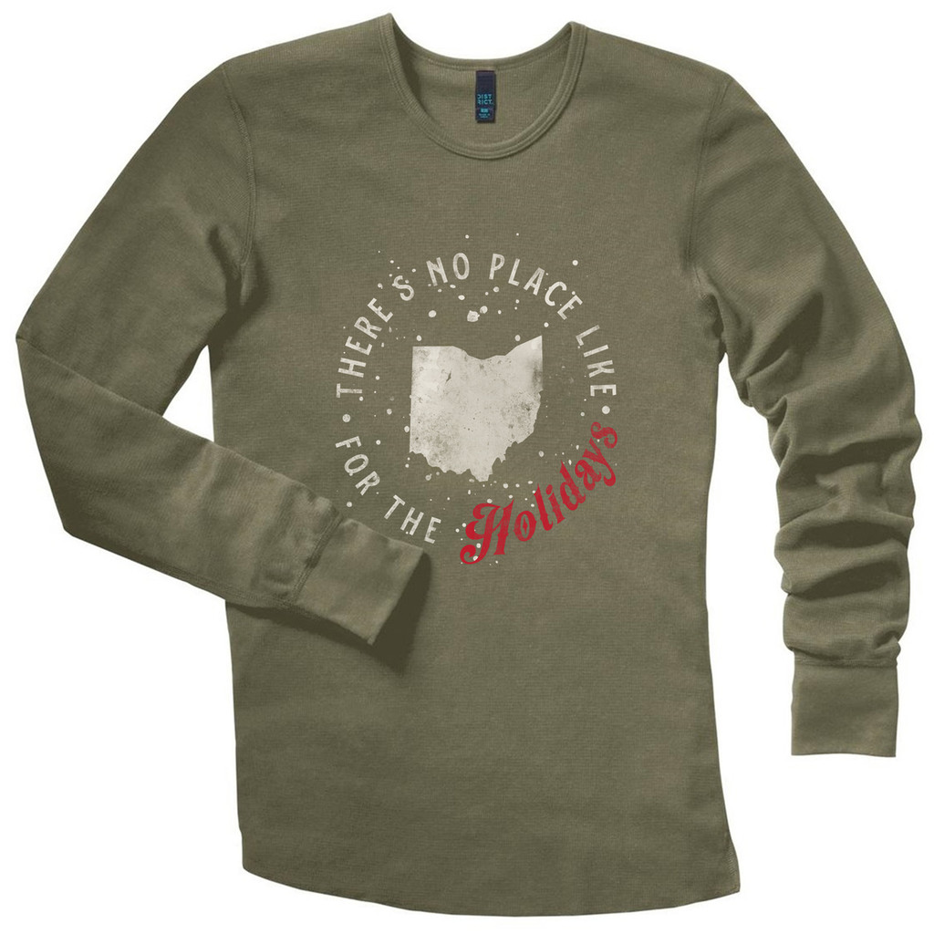 Army Green There's No Place Like Ohio Holiday Thermal Long Sleeve Shirt