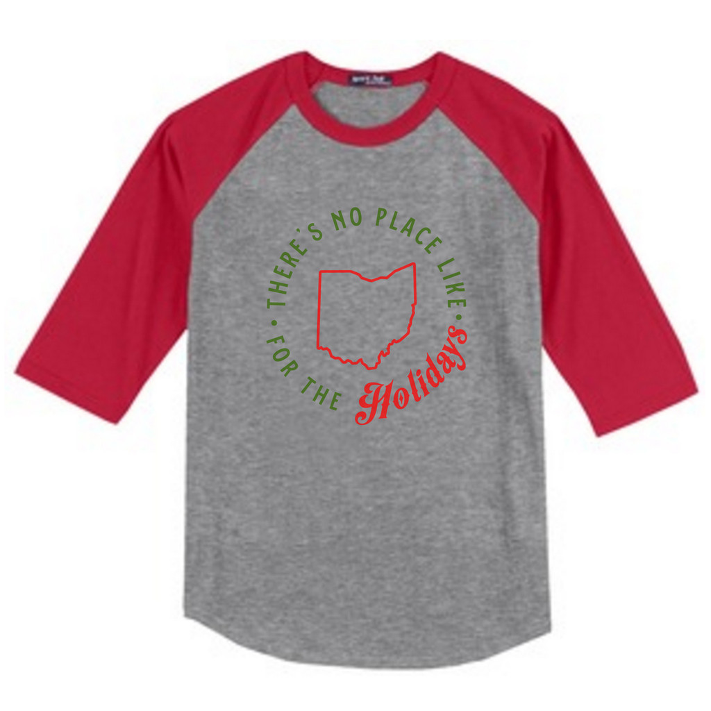 Heather Gray / Red There's No Place Like Ohio Holiday Youth 3/4 Length Sleeve Raglan T-Shirt