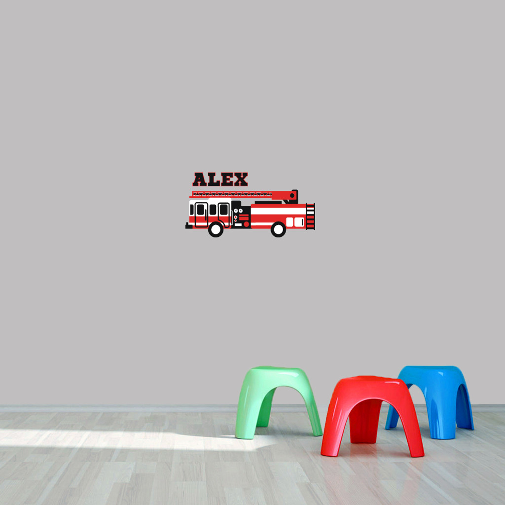 "Custom Name Fire Truck Printed Wall Decal  24"" wide x 12"" tall Sample Image"
