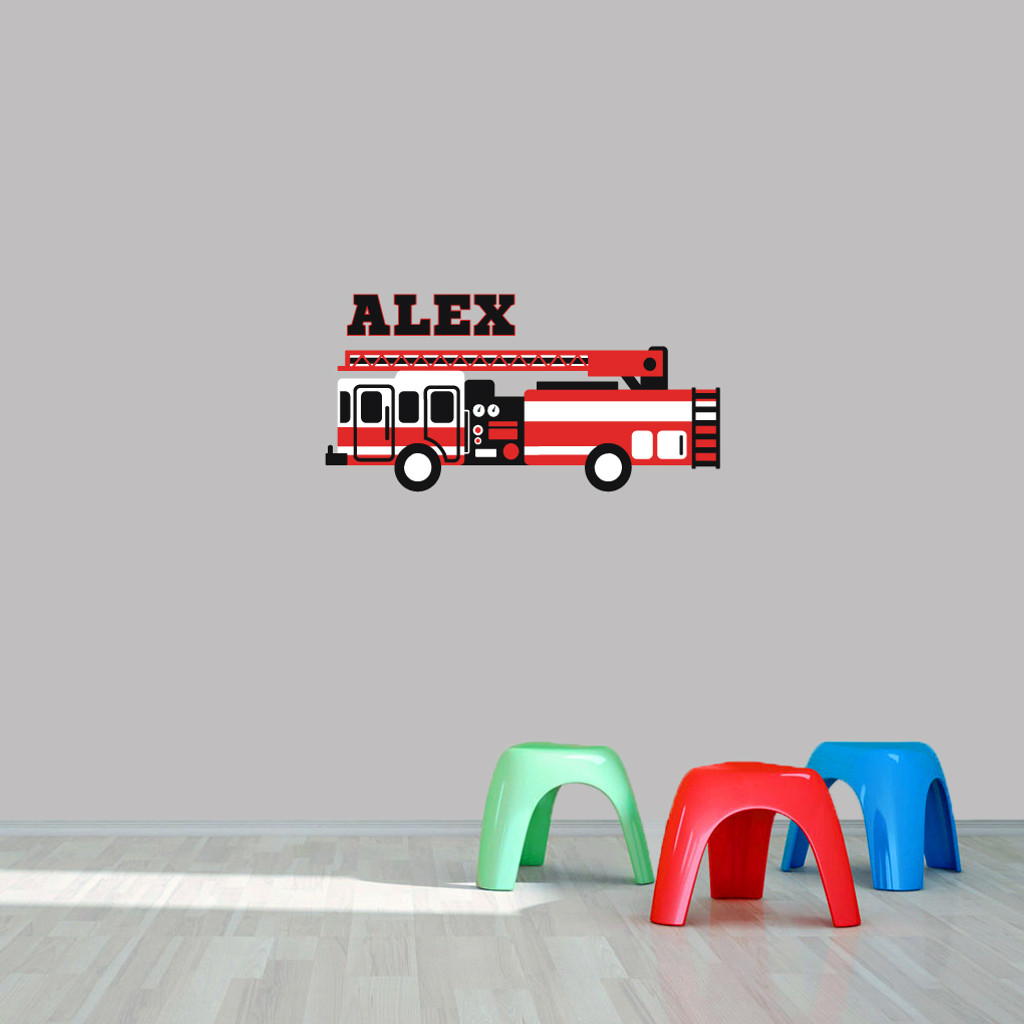 "Custom Name Fire Truck Printed Wall Decal  36"" wide x 18"" tall Sample Image"