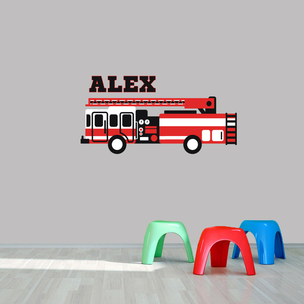 "Custom Name Fire Truck Printed Wall Decal  48"" wide x 24"" tall Sample Image"