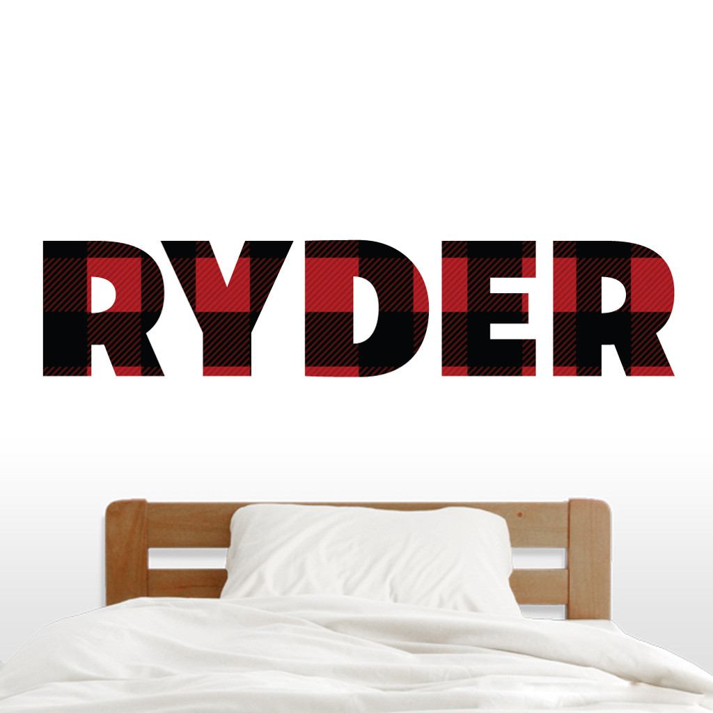 "Custom Lumberjack Red And Black Plaid Name Wall Decal 60"" wide x 13"" tall Sample Image"