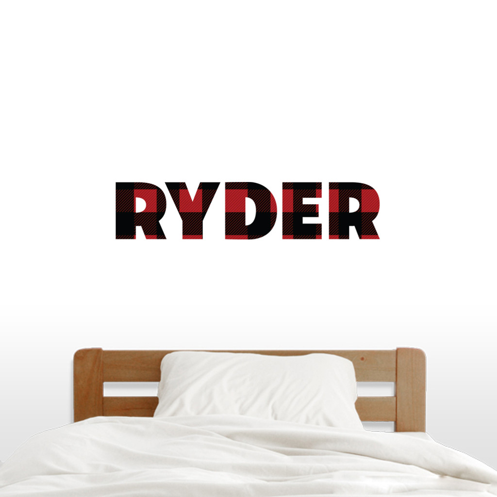 "Custom Lumberjack Red And Black Plaid Name Wall Decal 36"" wide x 8"" tall Sample Image"