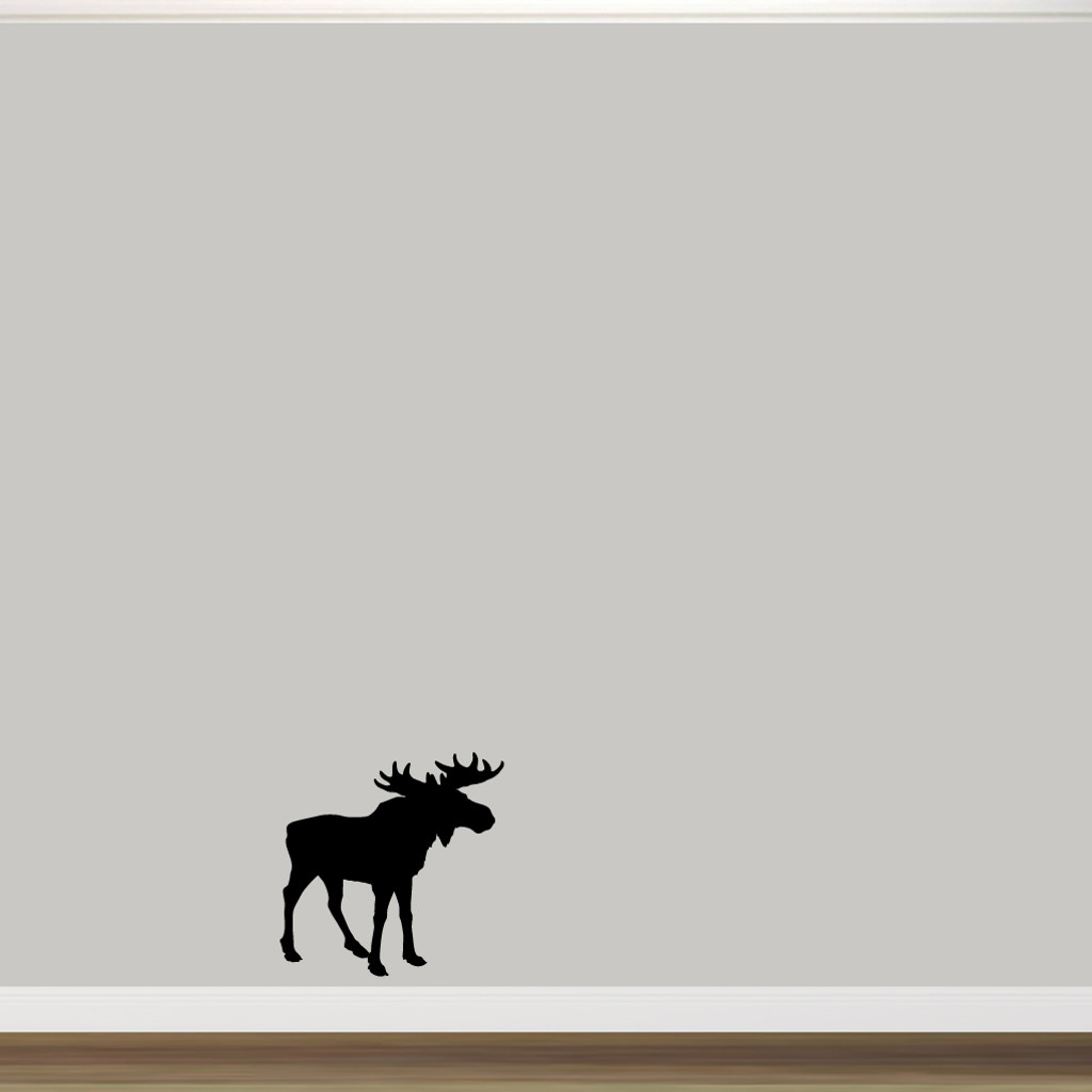 "Moose Silhouette Wall Decal 22"" wide x 22"" tall Sample Image"