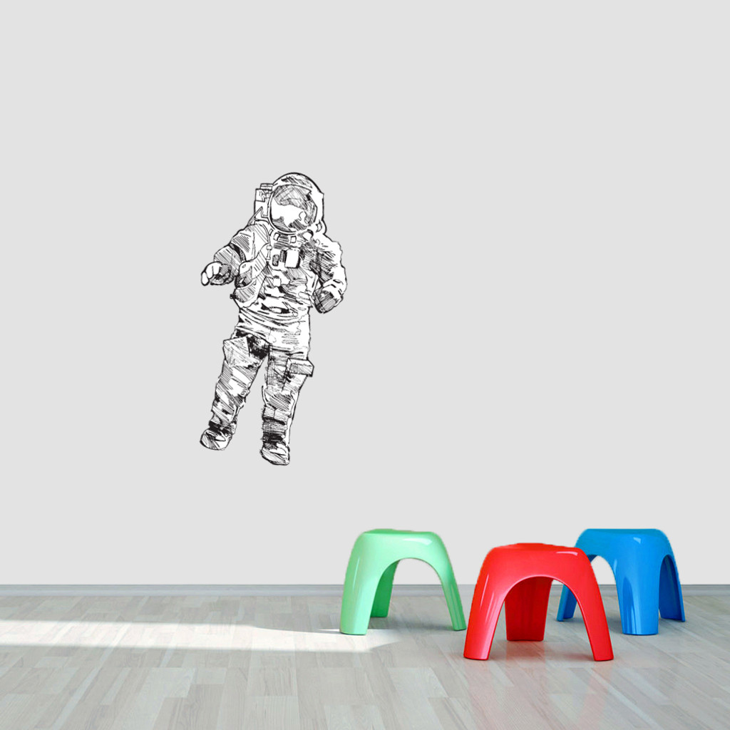 """Astronaut Printed Wall Decal 18"""" wide x 36"""" tall Sample Image"""