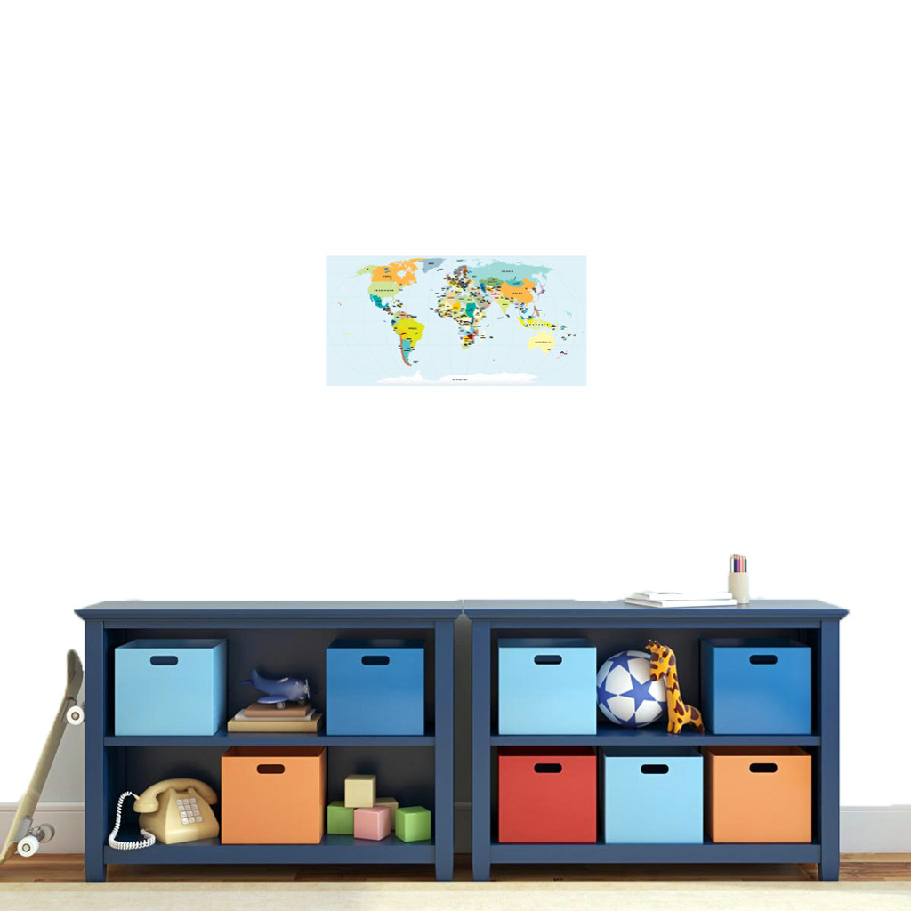"World Map Atlas Printed Wall Decal 24"" wide x 12"" tall Sample Image"