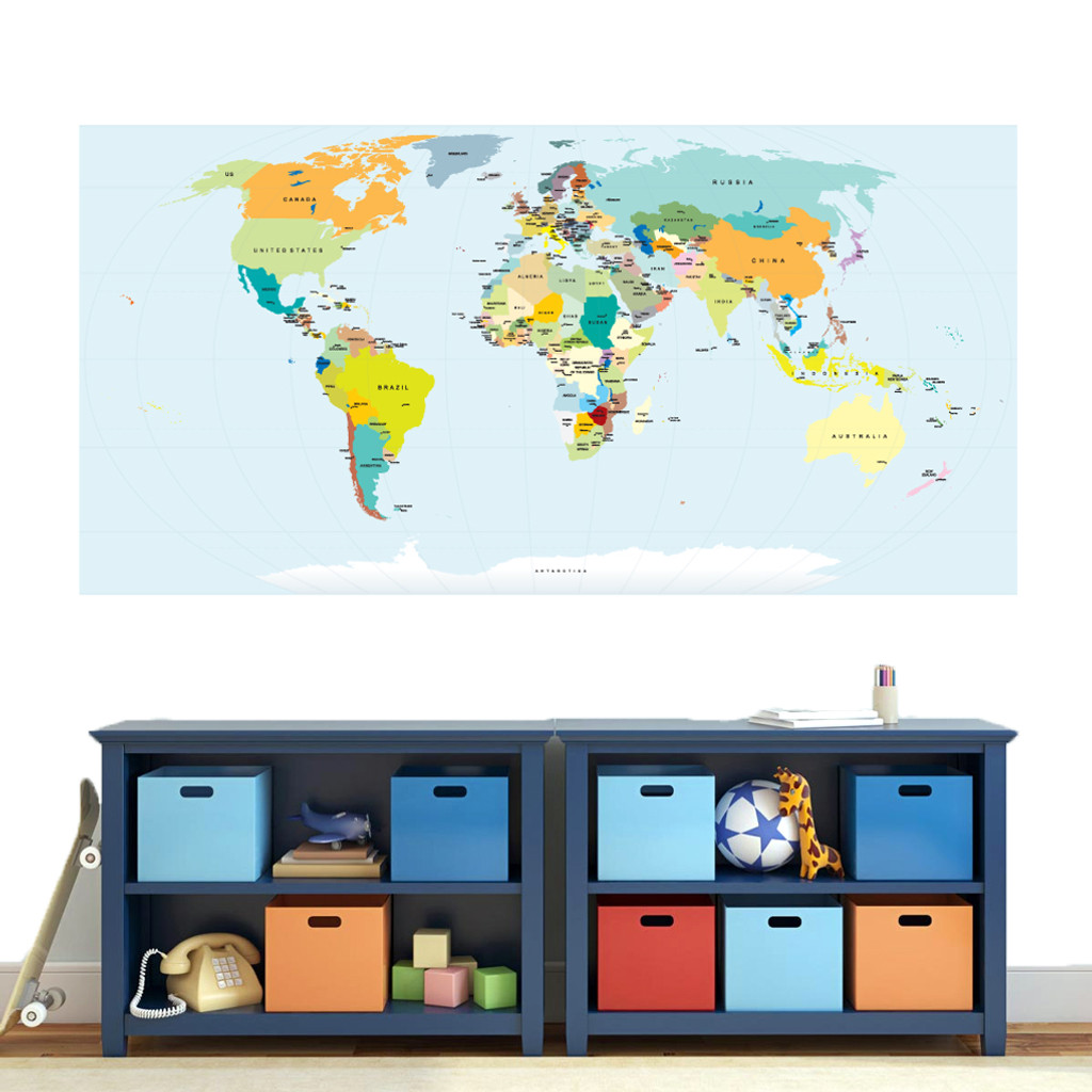 "World Map Atlas Printed Wall Decal 72"" wide x 36"" tall Sample Image"