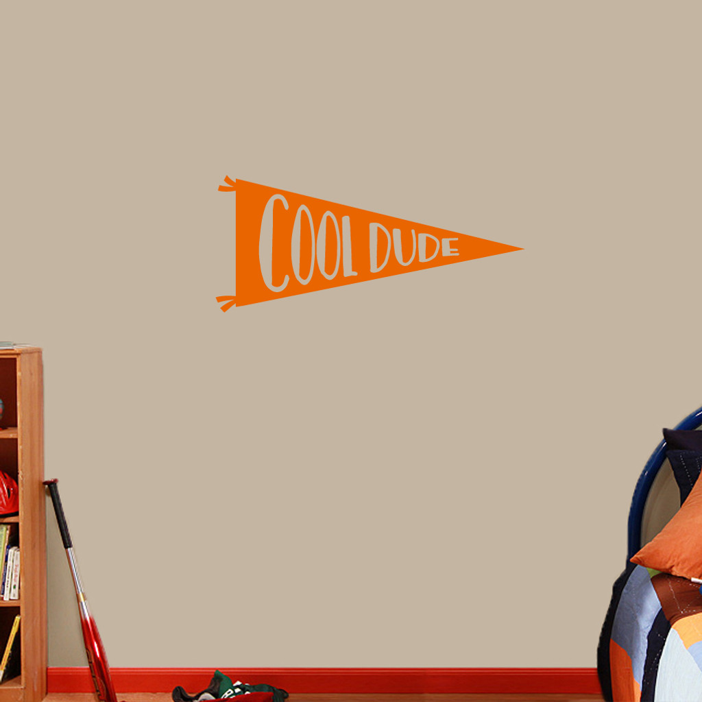 """Cool Dude Pennant Flag Wall Decal 36"""" wide x 16"""" tall Sample Image"""