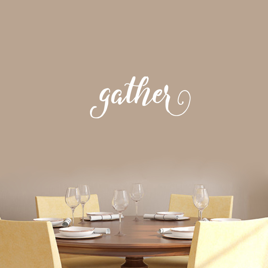 """Gather Wall Decal 24"""" wide x 10"""" tall Sample Image"""