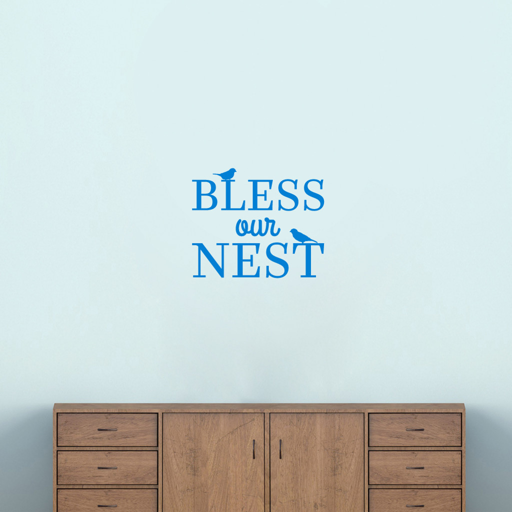 """Bless Our Nest Wall Decal 18"""" wide x 15"""" tall Sample Image"""