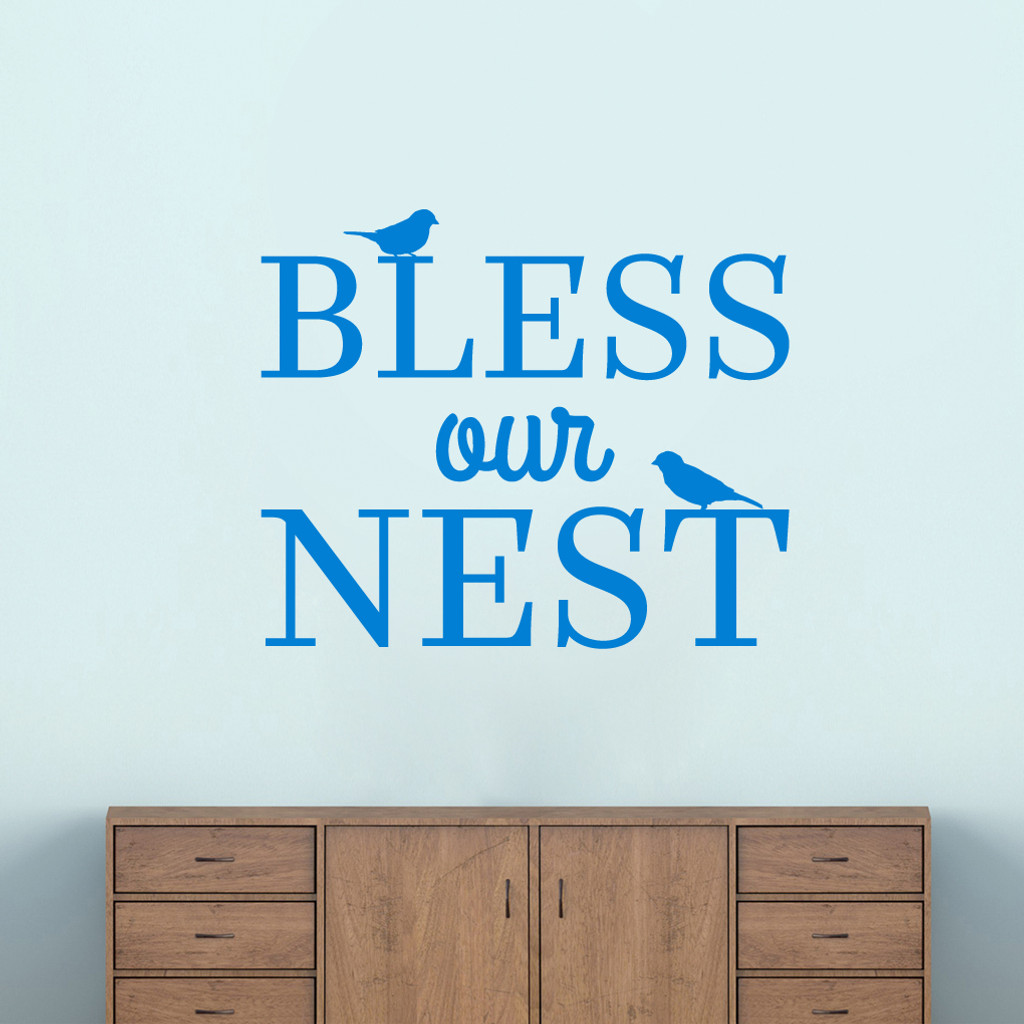 """Bless Our Nest Wall Decal 36"""" wide x 30"""" tall Sample Image"""