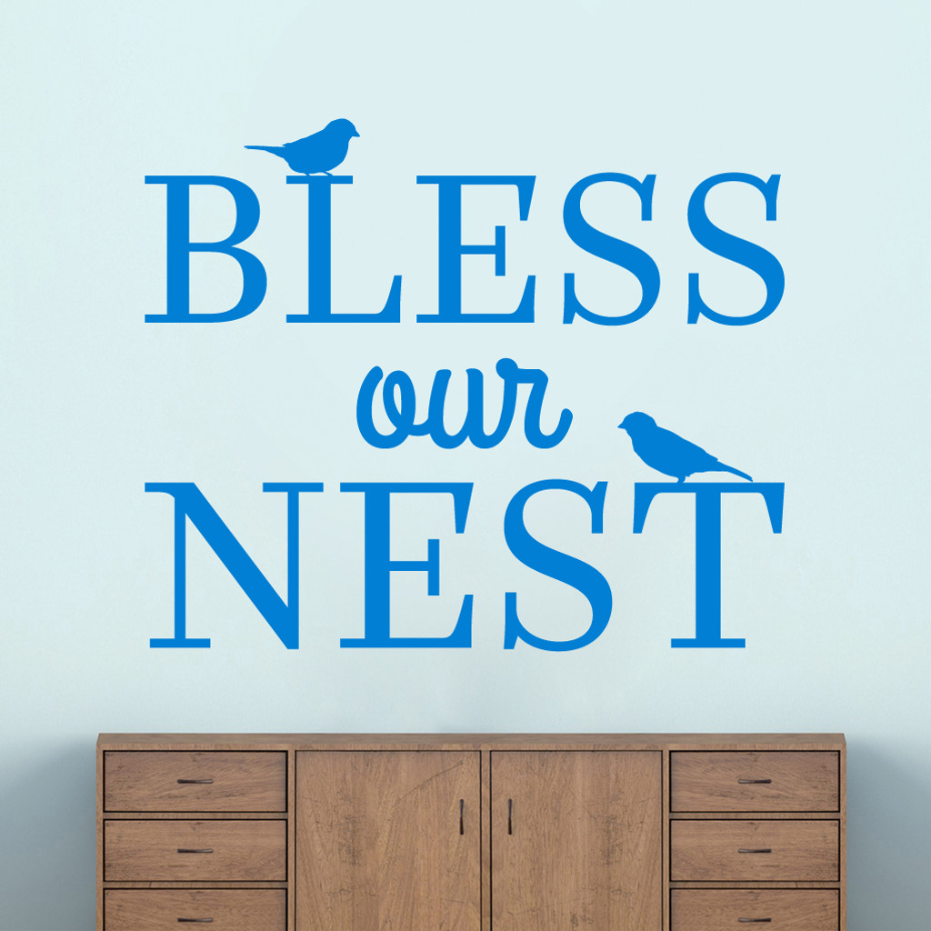 """Bless Our Nest Wall Decal 48"""" wide x 40"""" tall Sample Image"""