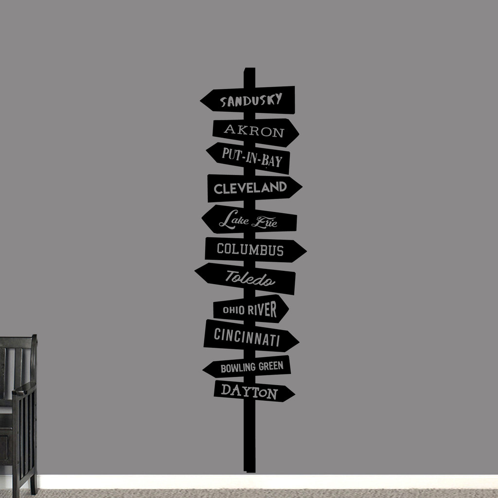 """Ohio Hot Spots Sign Wall Decal 20"""" wide x 72"""" tall Sample Image"""