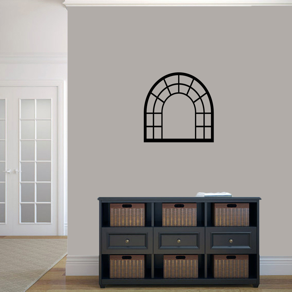 """Arched Window Frame Wall Decals 22"""" wide x 22"""" tall Sample Image"""