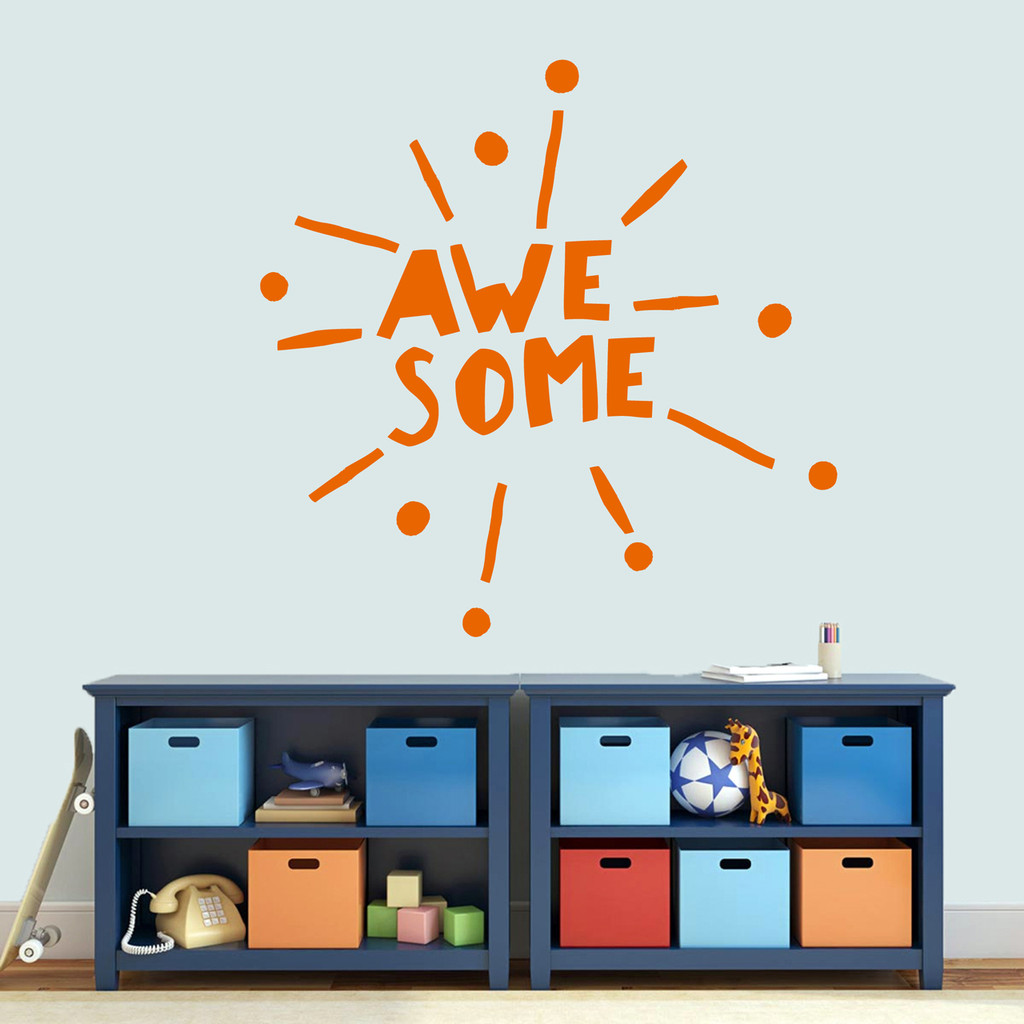 "Awesome Burst Wall Decal 48"" wide x 48"" tall Sample Image"