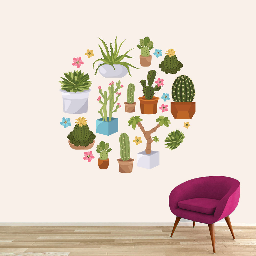 """Cactuses and Succulents Printed Wall Decals 48"""" wide x 48"""" tall Sample Image"""