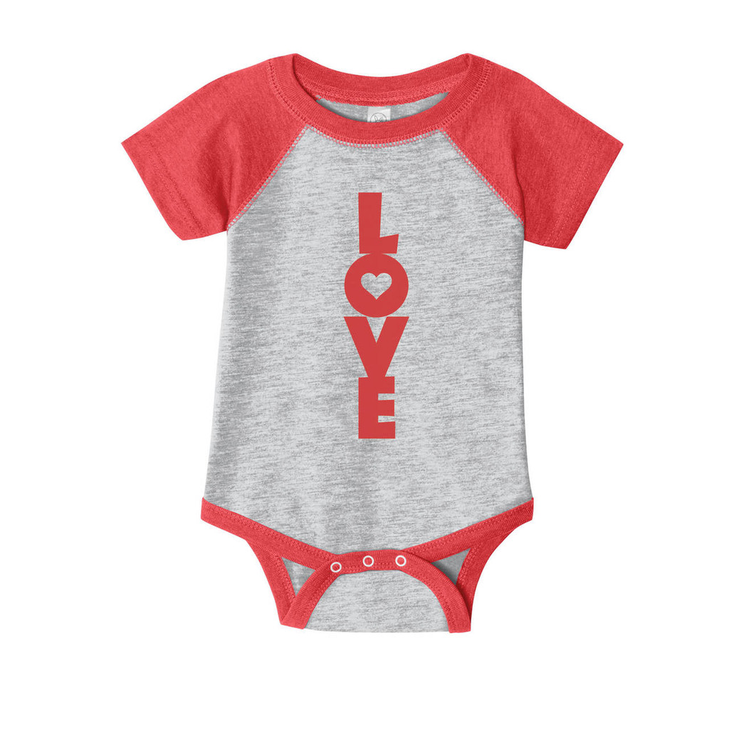 Baseball Raglan style onesie with vintage heather grey body and red sleeves. Red LOVE imprint down center.