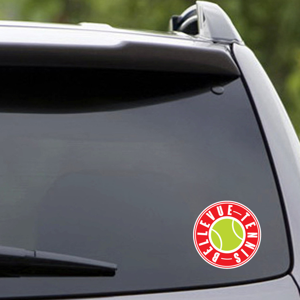"Printed Bellevue Tennis Vehicle Decal 4"" wide x 4"" tall Sample Image"
