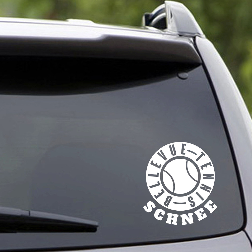 Custom Name White Bellevue Tennis Vehicle Decal Sample Image