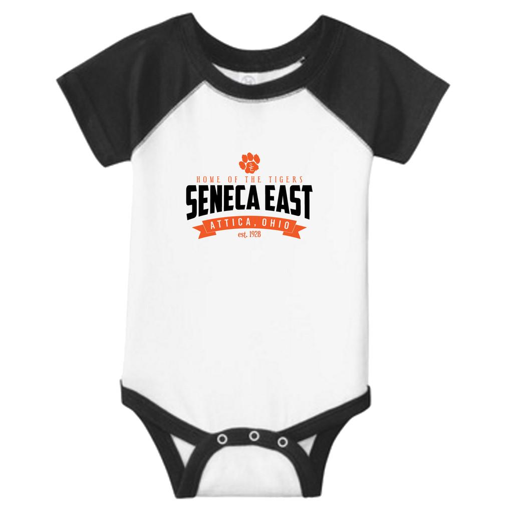 White / Black Seneca East Home Of The Tigers Unisex Infant Onesie Baseball Jersey T-Shirt