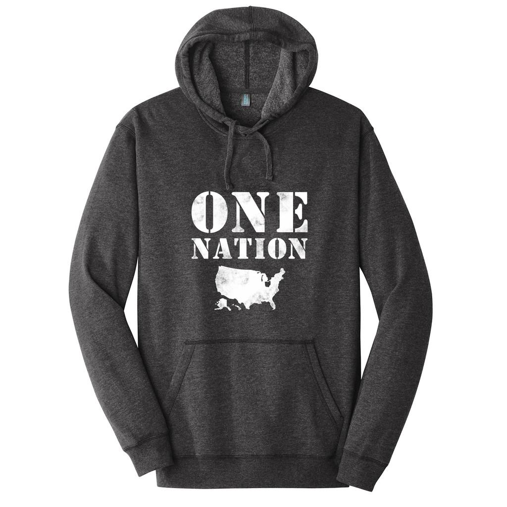 Heathered Black One Nation Ohio Adult Unisex Fleece Hoodie Front