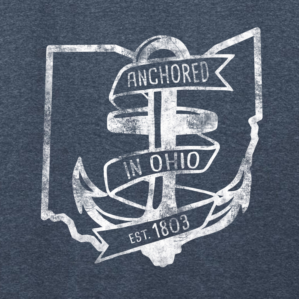 Heathered Navy Anchored In Ohio Adult Unisex T-Shirt Front Pocket Print