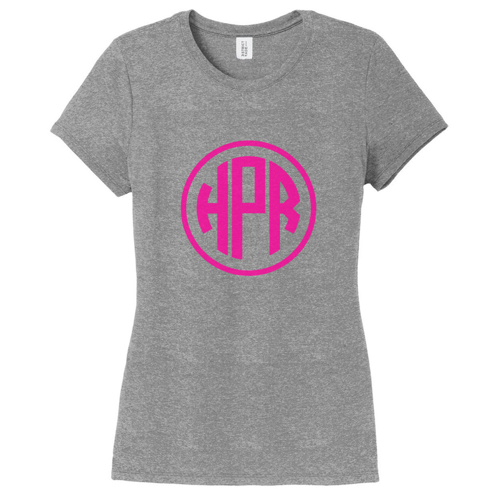 Gray Frost Circle Monogram Women's Fitted T-Shirt