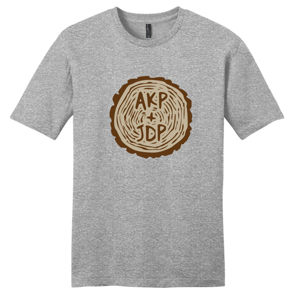 Light Heathered Gray Custom Carved Tree Trunk T-Shirt