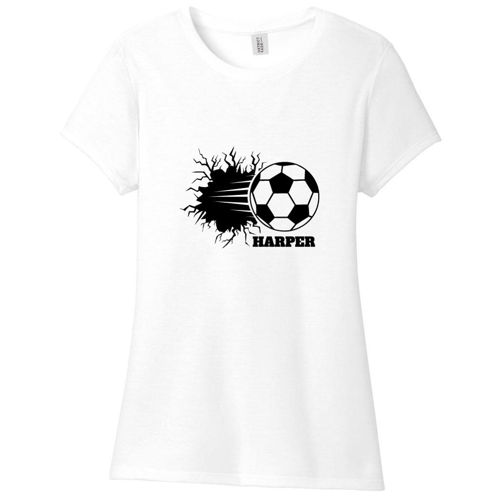 White Custom Soccer Ball Breaking Through Wall Women's Fitted T-Shirt