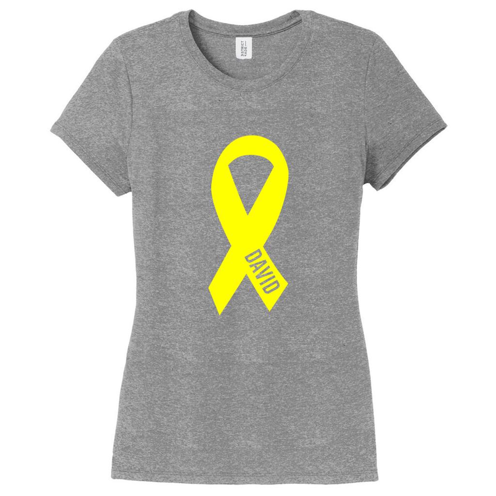 Gray Frost Custom Awareness Ribbon Women's Fitted T-Shirt