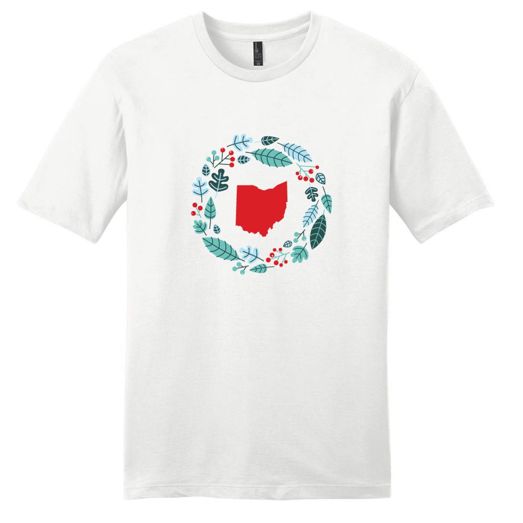 White Custom State Winter Wreath T-Shirt