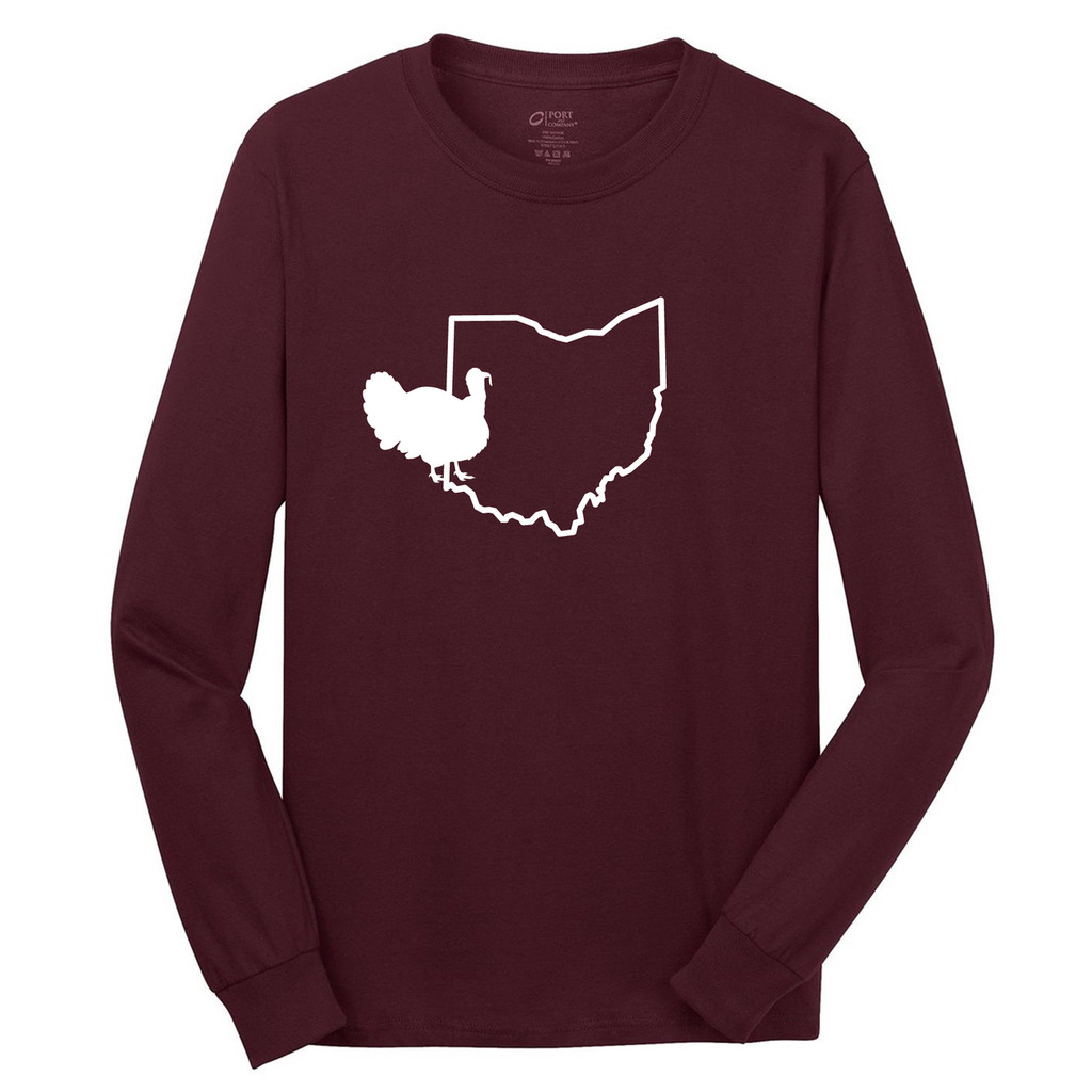 Athletic Maroon Custom State Chicken Silhouette Long Sleeve T-Shirt