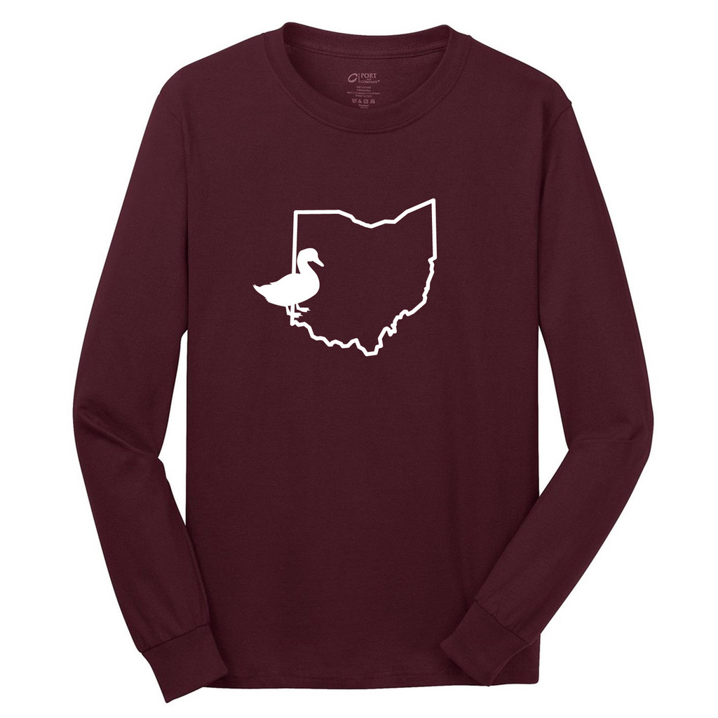 Athletic Maroon Custom State Duck Silhouette Long Sleeve T-Shirt