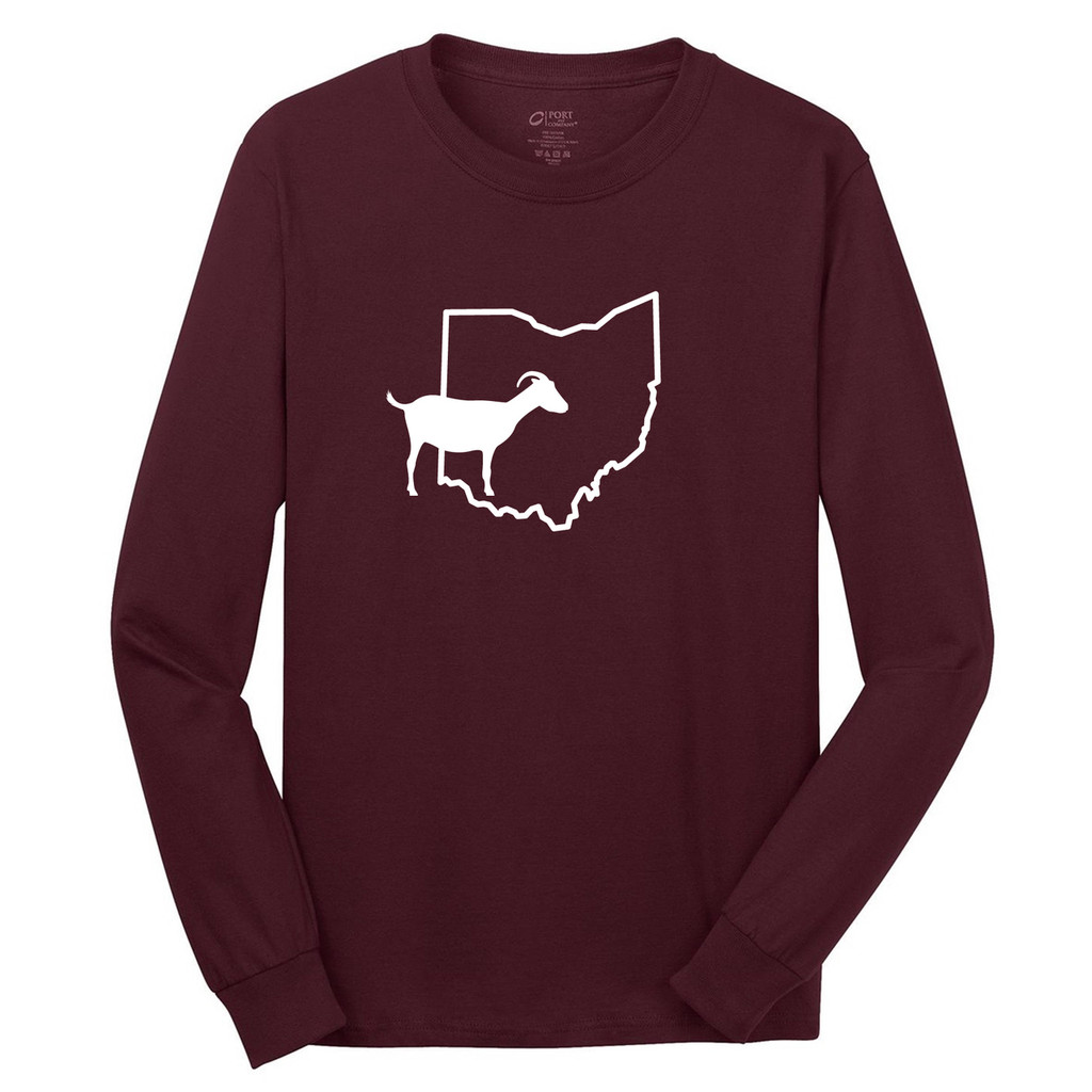 Athletic Maroon Custom State Goat Silhouette Long Sleeve T-Shirt