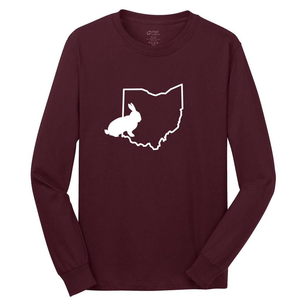 Athletic Maroon Custom State Rabbit Silhouette Long Sleeve T-Shirt